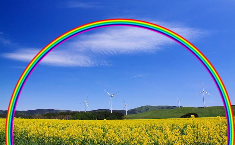 虹をドラッグ