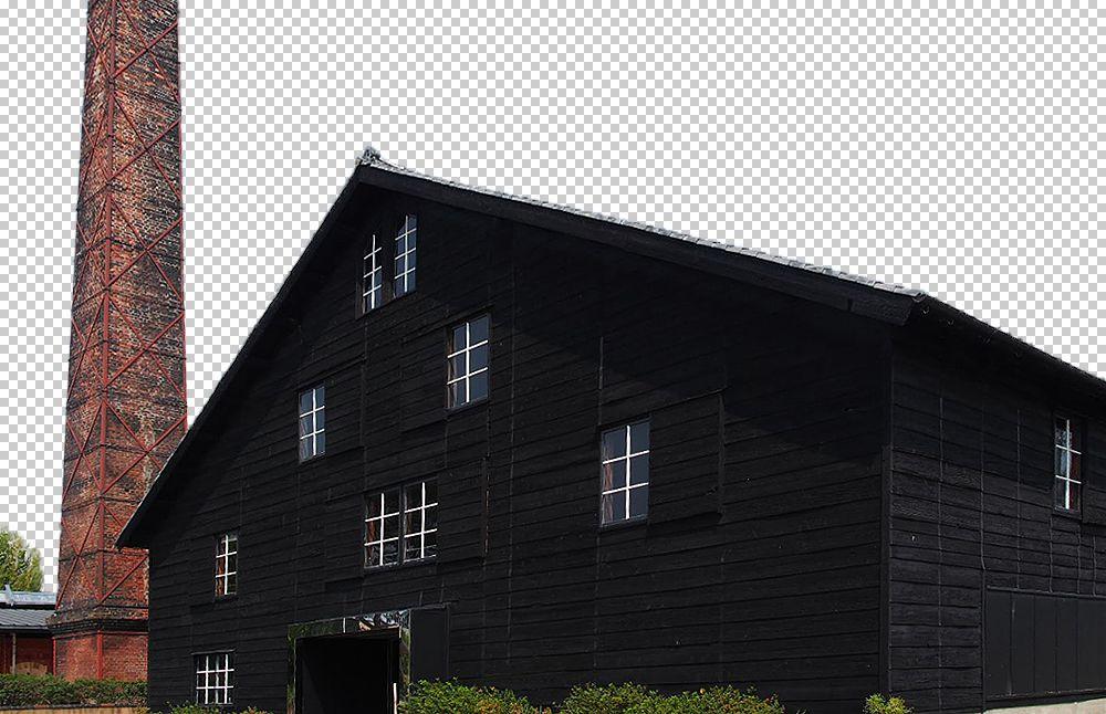 切り抜いた黒い建物